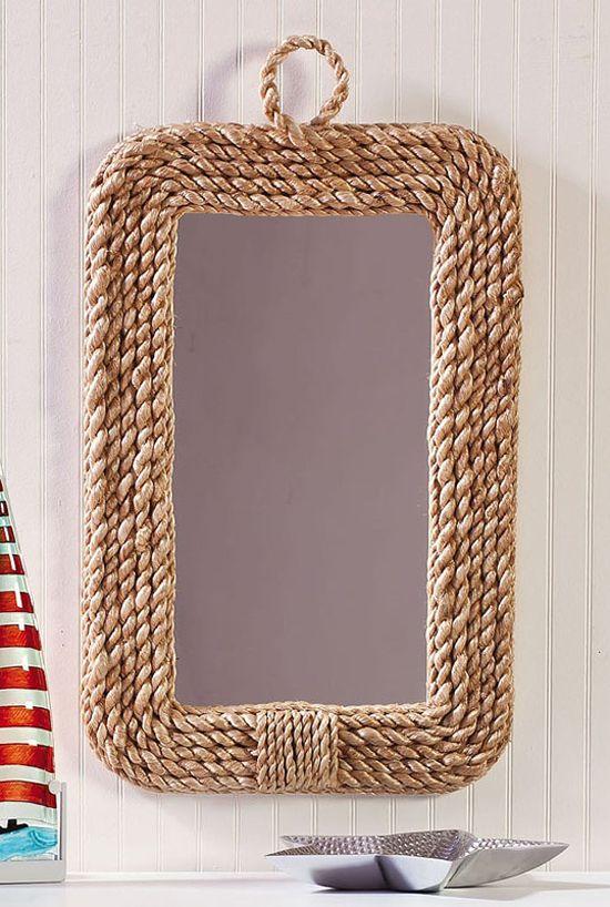 Ideas para decorar con soga i marcos para espejos for Marcos plateados para espejos