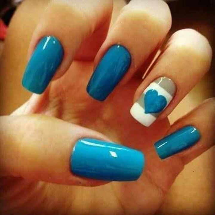 blue nails with heart & striped accent nail <3 | Nailed It ...