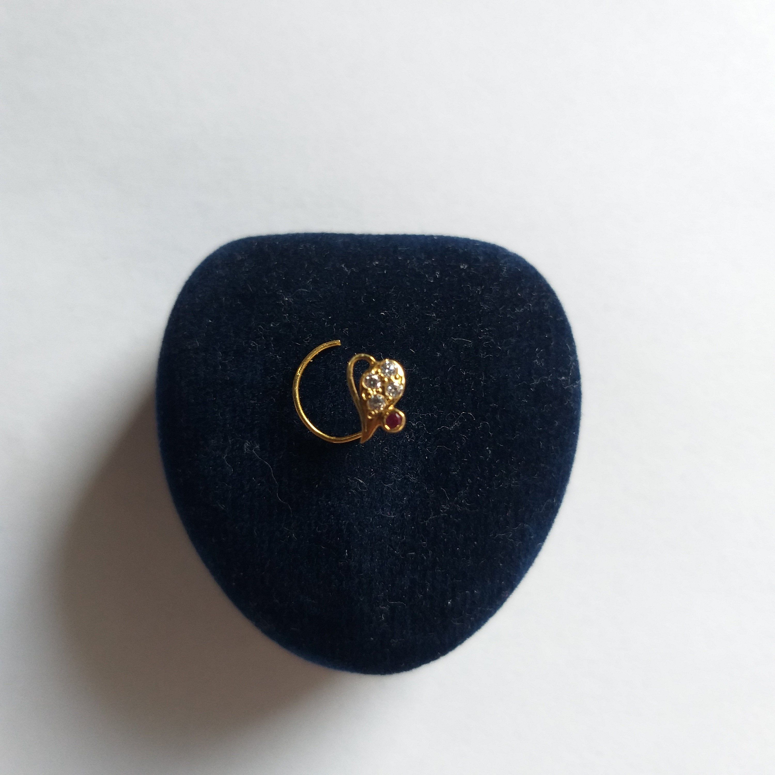 Real Gold With Crystal Nose Stud 18k Gold Nose Pin Nostril Stud