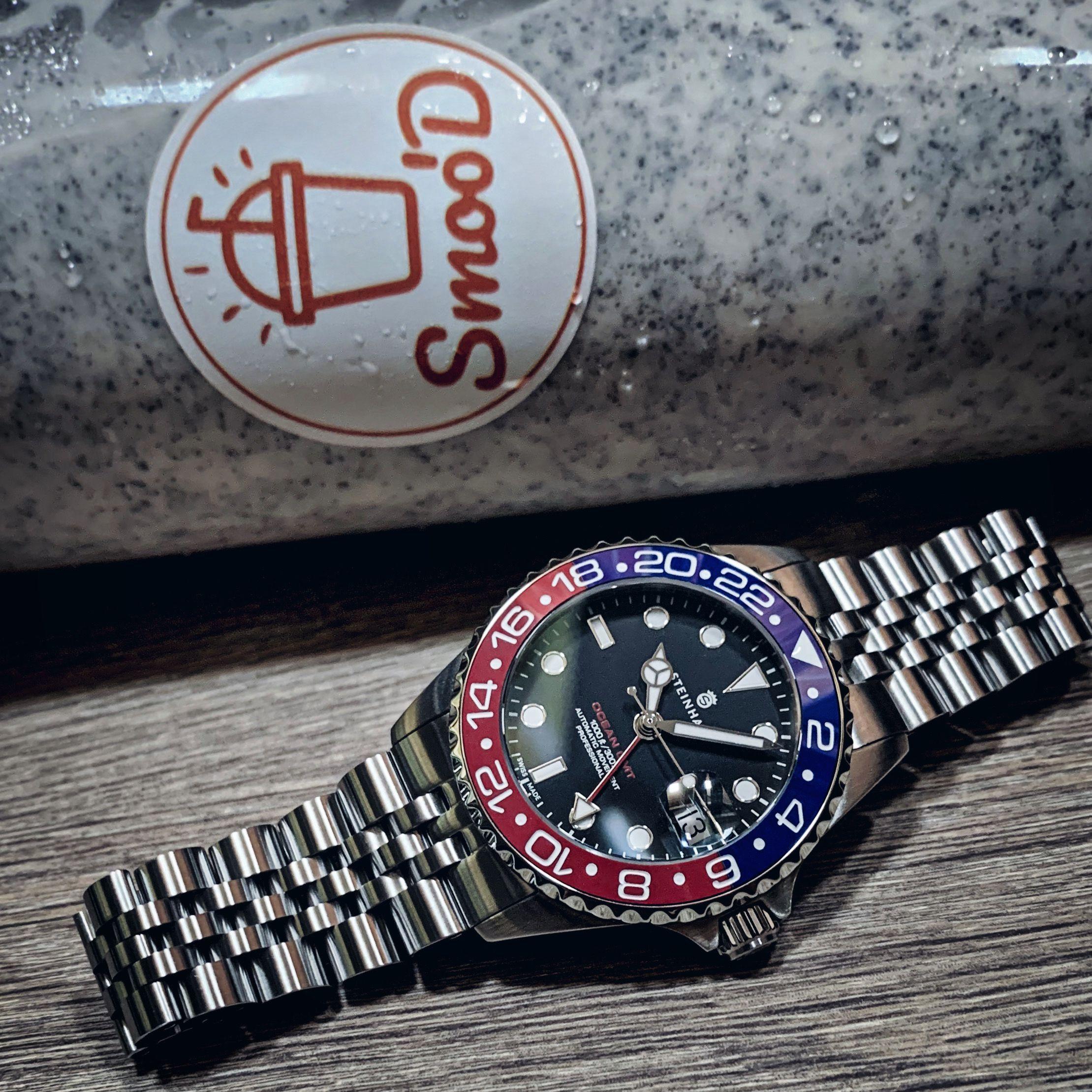Ocean One 39 Gmt Blue Red Ceramic 2 Steinhart Watch Stainless Steel Bracelet Steinhart Ocean One