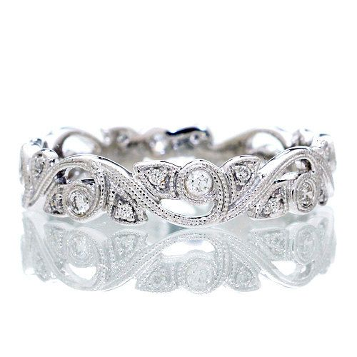 14 Karat White Gold Diamond Vine Infinity Forever Twist Eternity