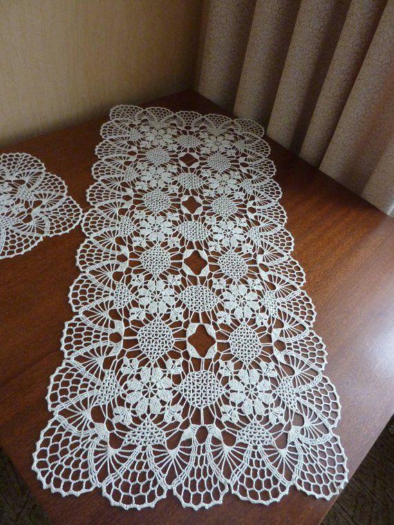 corredor de mesa, juego de Doilies, cubierta de mesa