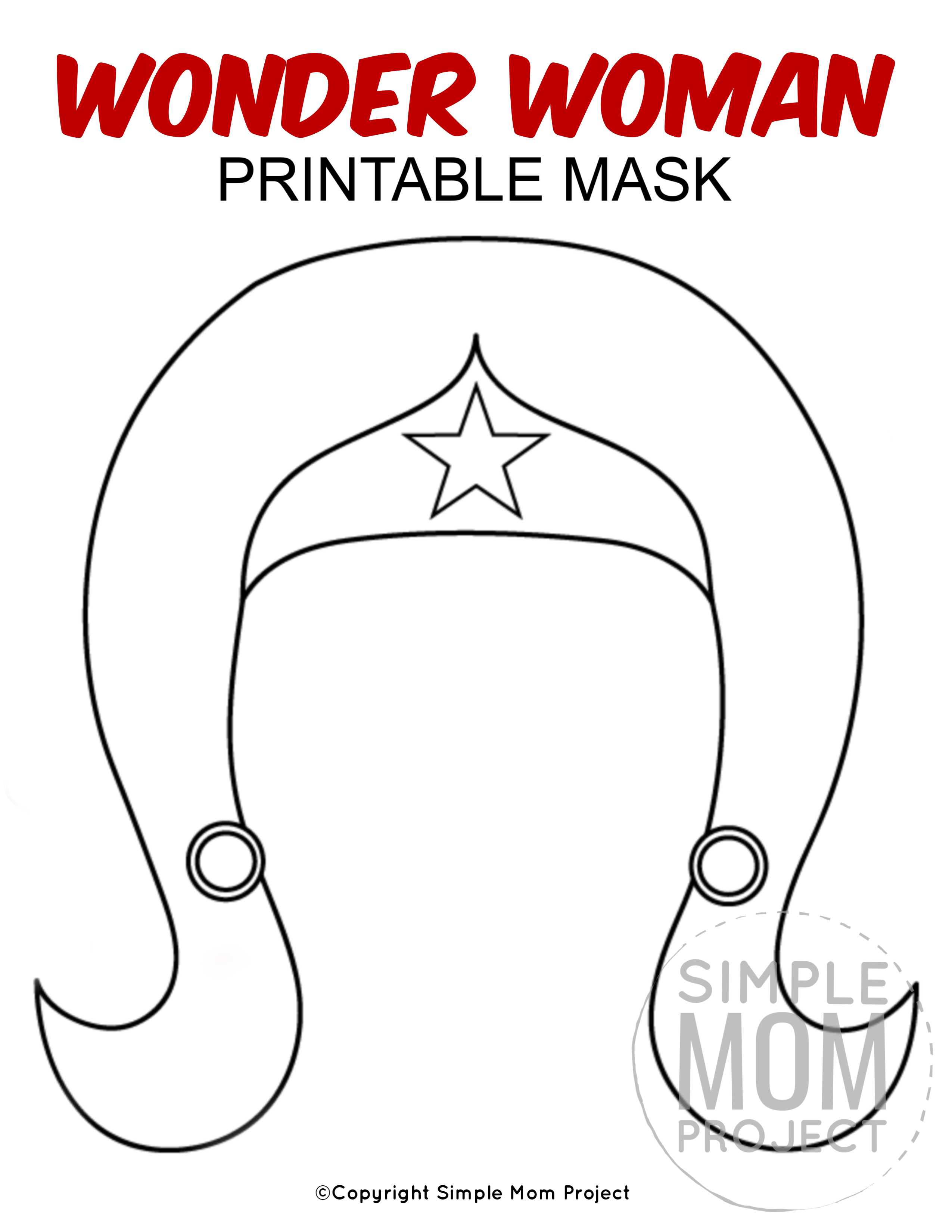 Free Printable Wonder Woman Mask Template In 2020 Mask For Kids Face Masks For Kids Wonder Woman Mask