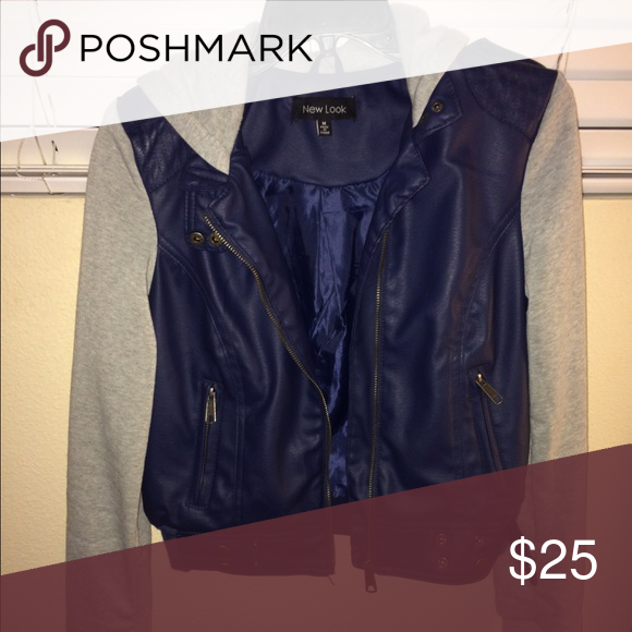 Faux Leather Jacket The body of the Jacket is faux leather in navy blue the sleeves and hoodie are grey and a blend of cotton and polyester. Worn once. Size medium but fits more like a small-medium. Jackets & Coats