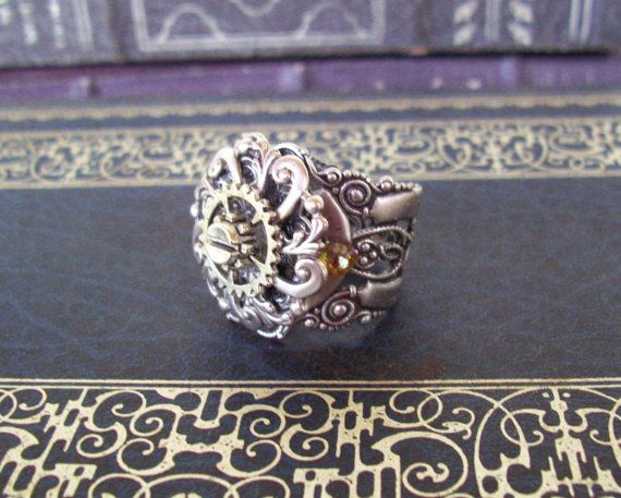 Steampunk Gear Ring R602 Chunky Silver by DesignsByFriston on Etsy