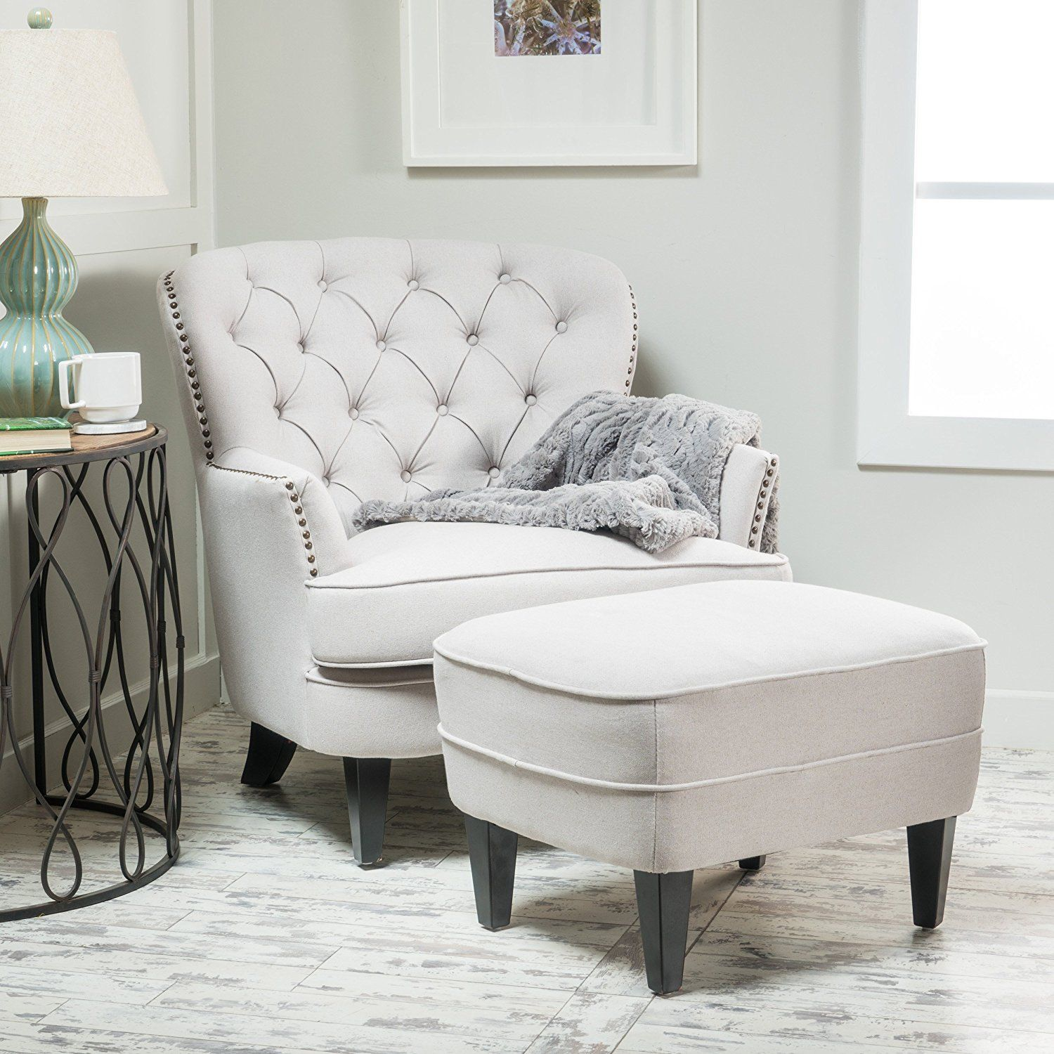 tufted club chair and ottoman