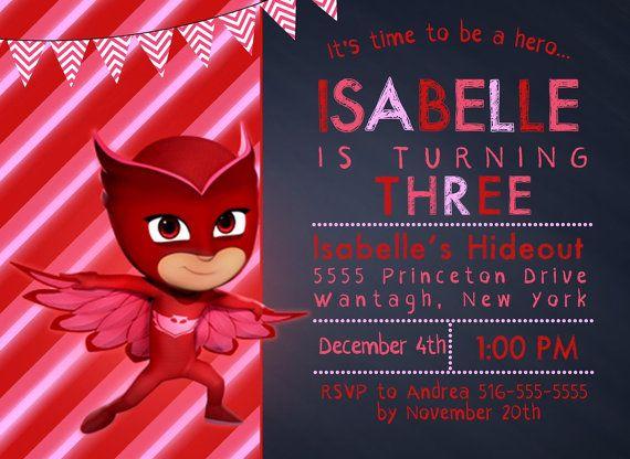 Owlette Invitation Free Thank You Card File Pj Masks