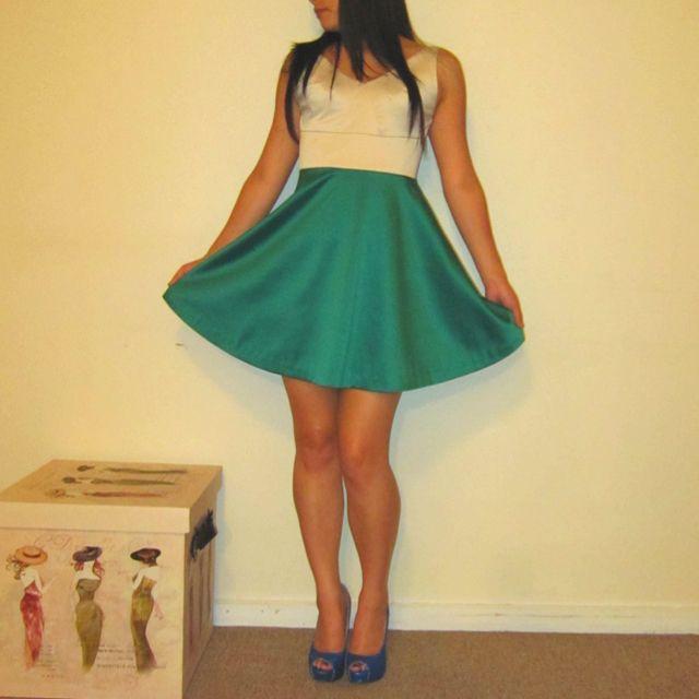 Emerald skirt handmade dress