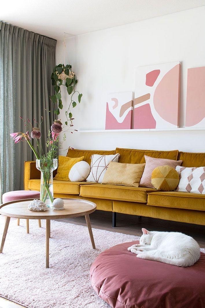 My attic interieur musthave woonkamer yellow sofa velvet pink roze fotografie marij hessel entermyattic also it starts with in home decor rh pinterest