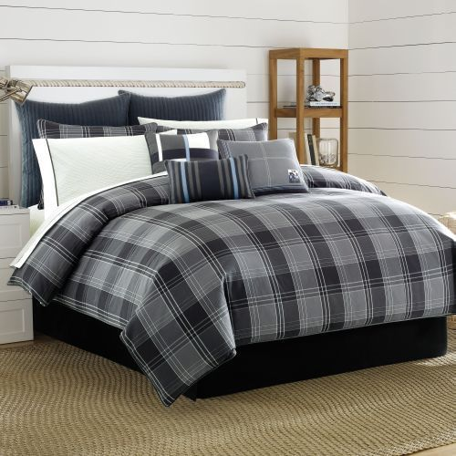 Nautica Harrington Bay Grey Plaid Duvet Cover Duvet