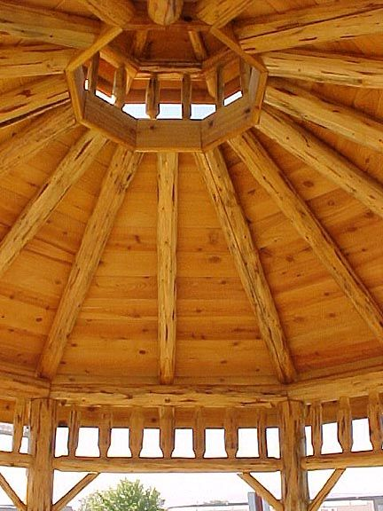 Octagonal cupola in knotty pine new addition ideas for Octagonal log cabin plans