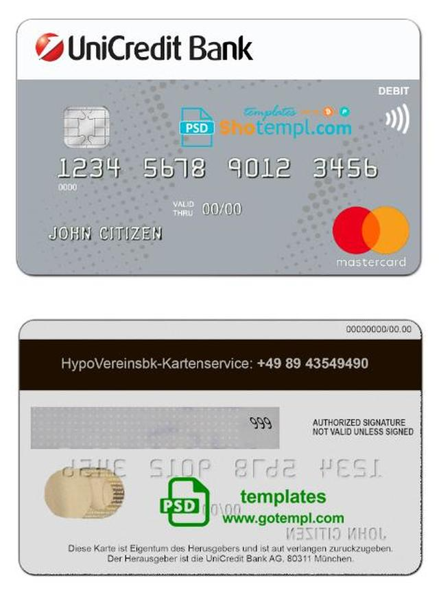 Germany Unicredit Bank Mastercard Credit Card Template In Psd Format Fully Editable Mastercard Credit Card Credit Card Card Template