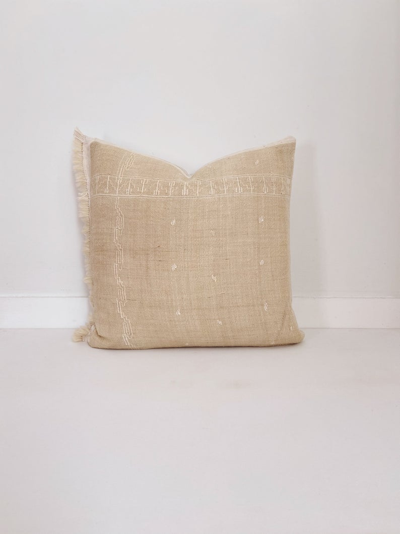 Ivory Wool Pillow Cover, Delicate Embroidery, Handloomed, Neutral