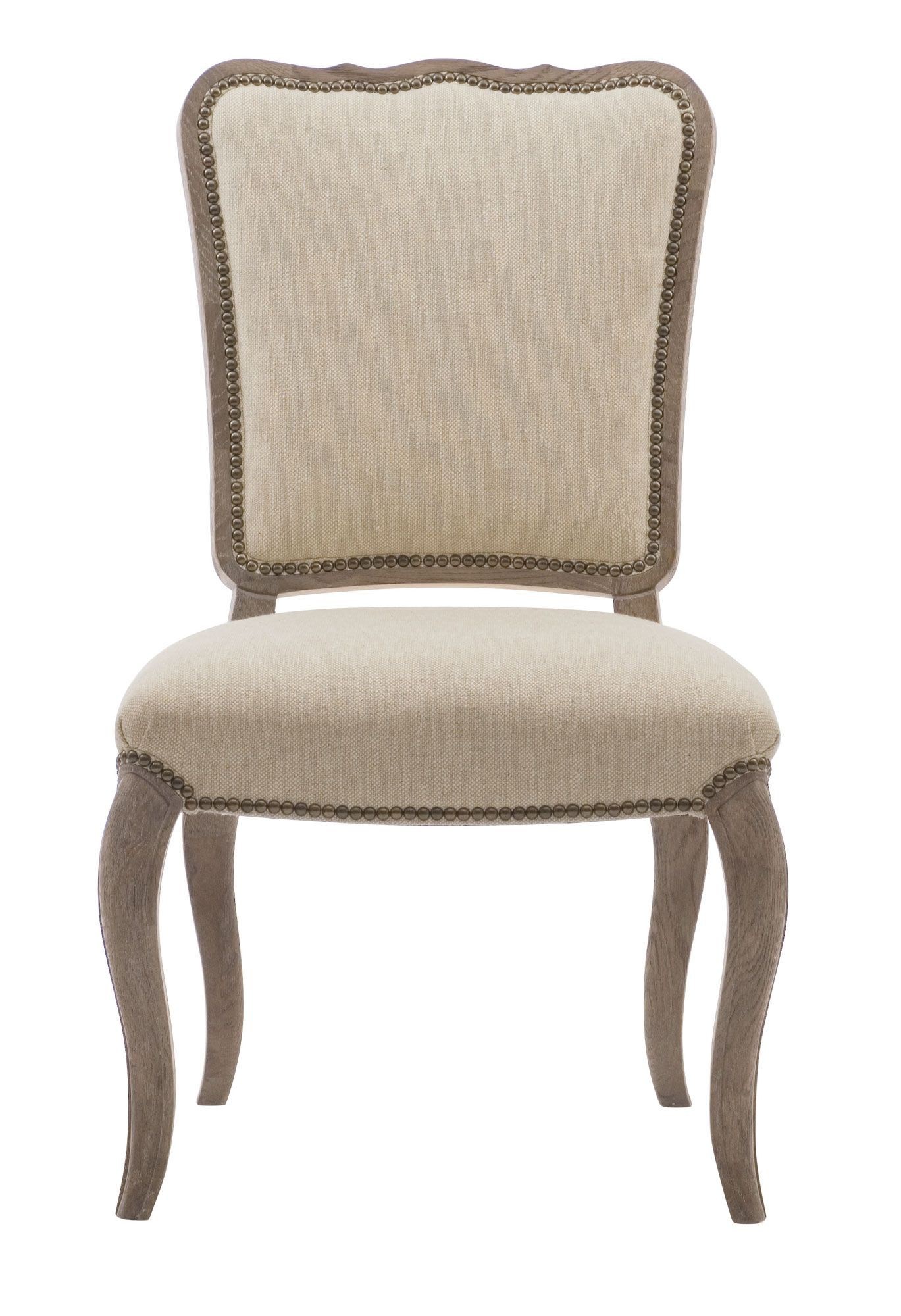 Weathered Oak Dining Chair Upholstered In A Textured Cream Linen And Trimmed With Upholstered Dining Side Chair Side Chairs Dining French Country Dining Chairs