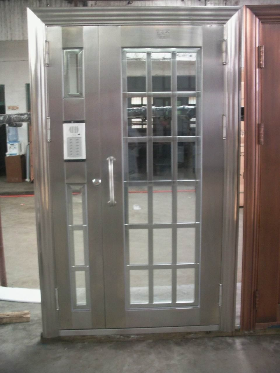 Metal Exterior Doors With Solid Tempered Glass Nice