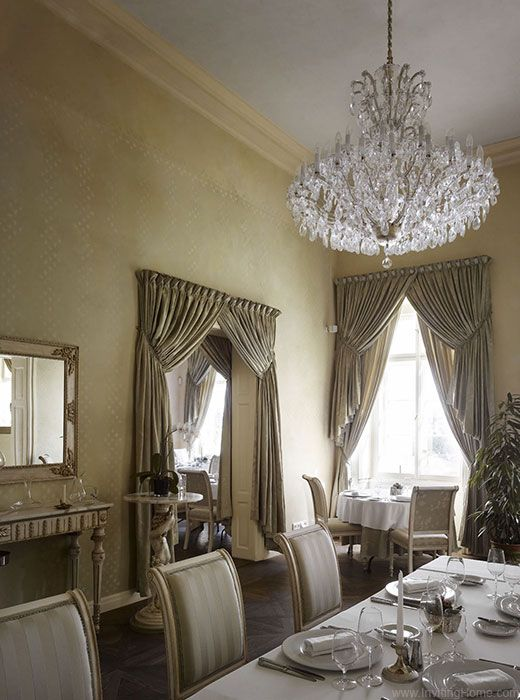 beautiful dining room with stunning maria theresa style crystal chandelier at their start the - Dining Room Crystal Lighting