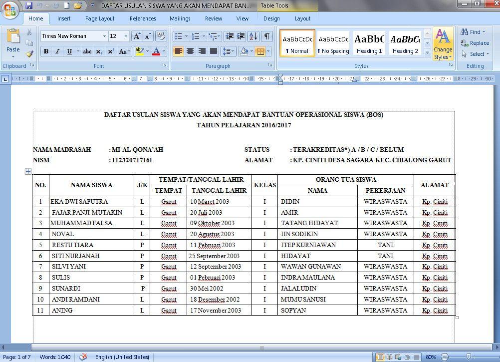Download Contoh Daftar Siswa Penerima Dana Bantuan Operasional