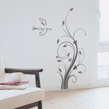 wall sticker romantic loving flowers and butterflies home decal decor  32*58cm $7.96
