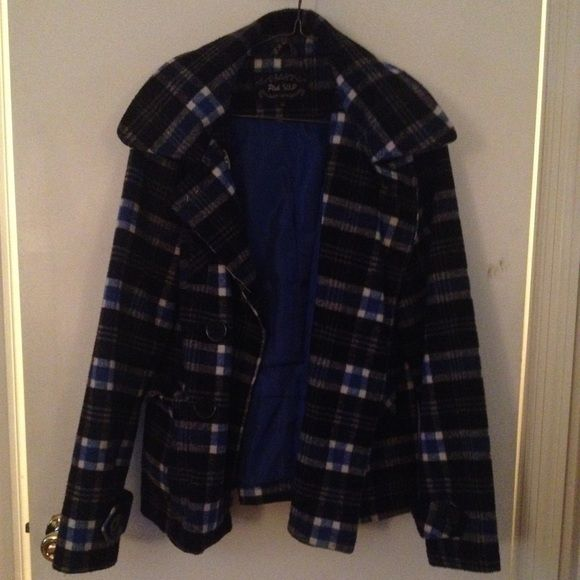 Blue & Black Plaid Winter Coat Perfect condition. Detachable hood. Tag says large, but fits like an adult small/medium. Pink Soup Jackets & Coats