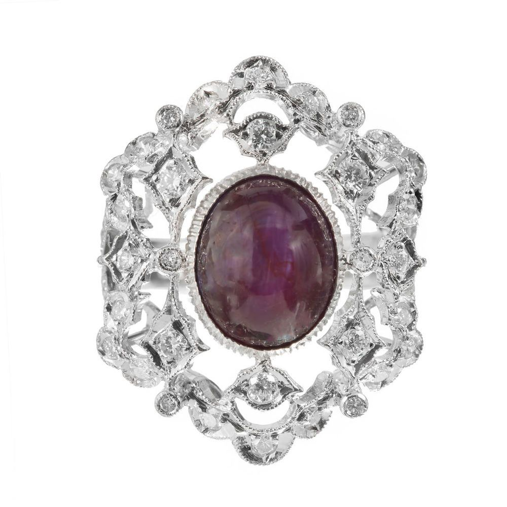 Estate 300ct Natural Certified Purple Red Star Ruby 18k White Gold Diamond  Ring In Jewelry