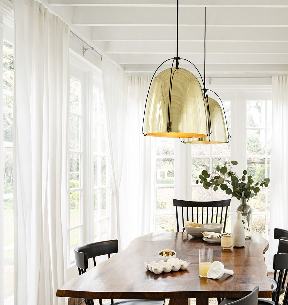 Haleigh Wire Dome Pendant - 12 in | Rejuvenation -- do a 2 set of these (in black) over the dining area -- length 47""