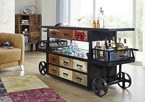 Style-Industriel-Vieux-chne-verni-Bar-Bois-massif-Fer-Meuble-massif - meuble en fer design
