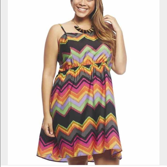 Multicolor Chevron dress Cute chevron dress with caged back Wet Seal Dresses