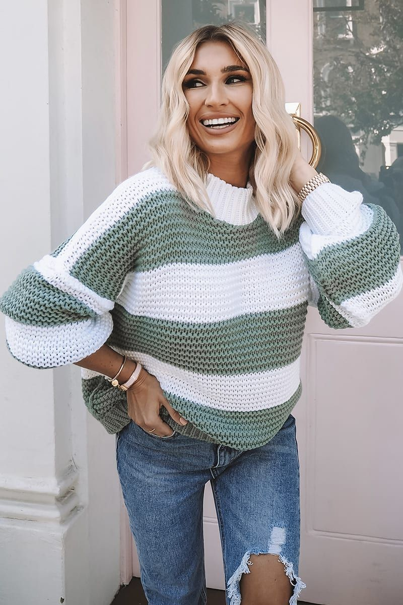 BILLIE FAIERS GREEN CHUNKY STRIPE KNIT JUMPER