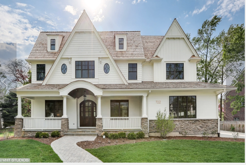 White House With Stone Custom Home Builders House Exterior Farmhouse Architecture