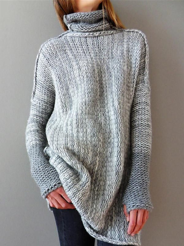 a3e622404ea420 Knit High Neck Long Sleeve Autumn Tops | Products | Pullover ...