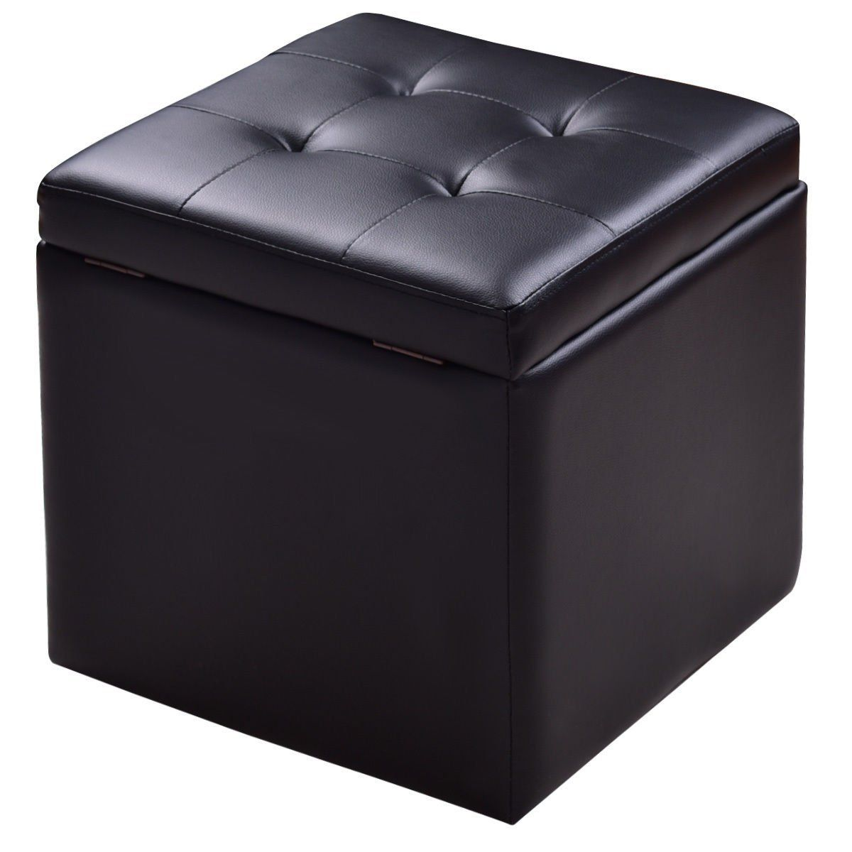 Gjh One Storage Box Ottoman Square Cube Stool Chair Seat Foot Lounge Hinge Top Black 5 8a X15 8a X15 8a Black Home Furniture Lounge Cube Ottoman