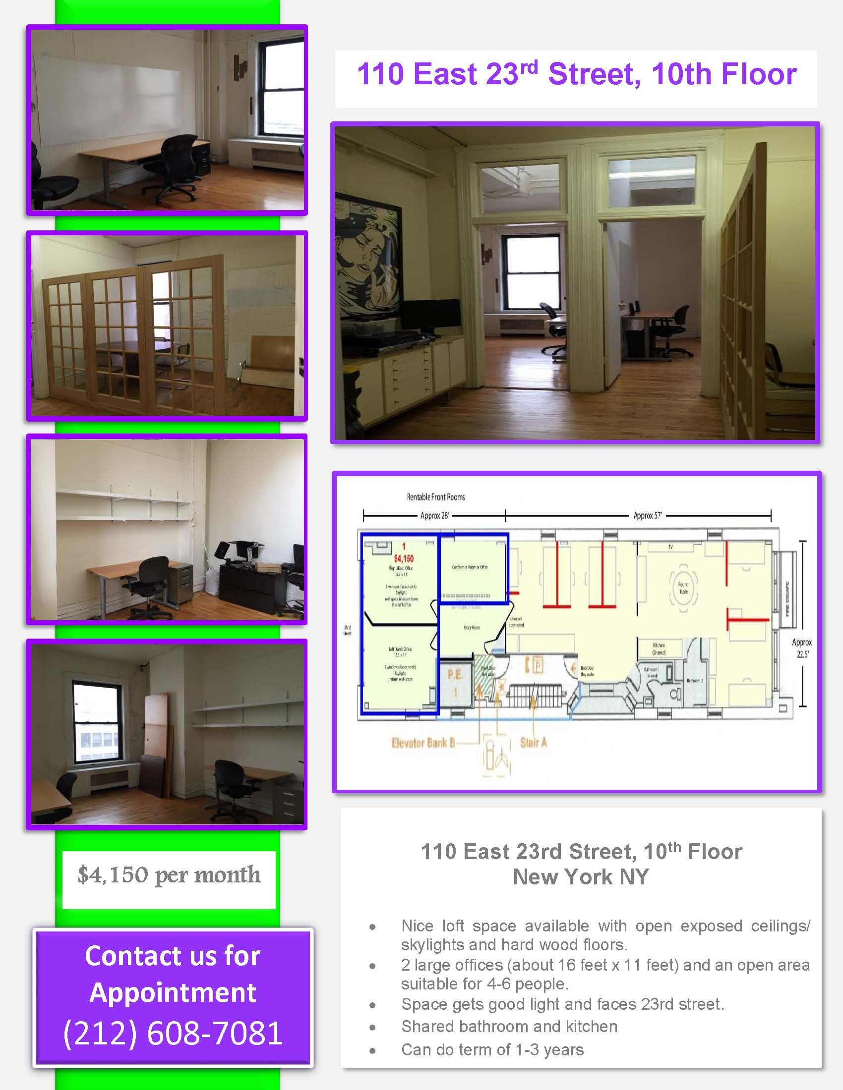 Great Location Sunny Loft Style Open Office Space With 10 Ceilings Towering Skylights And Hardwood Floors T Loft Spaces Office Space Nyc Open Space Office