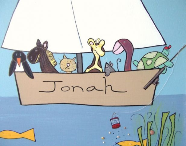 nursery decor sailboat wall art / fishing with friends / hand painted and embellished personalized with baby's name / 16x20 canvas. $110.00. http://aftcra.com/item/2613
