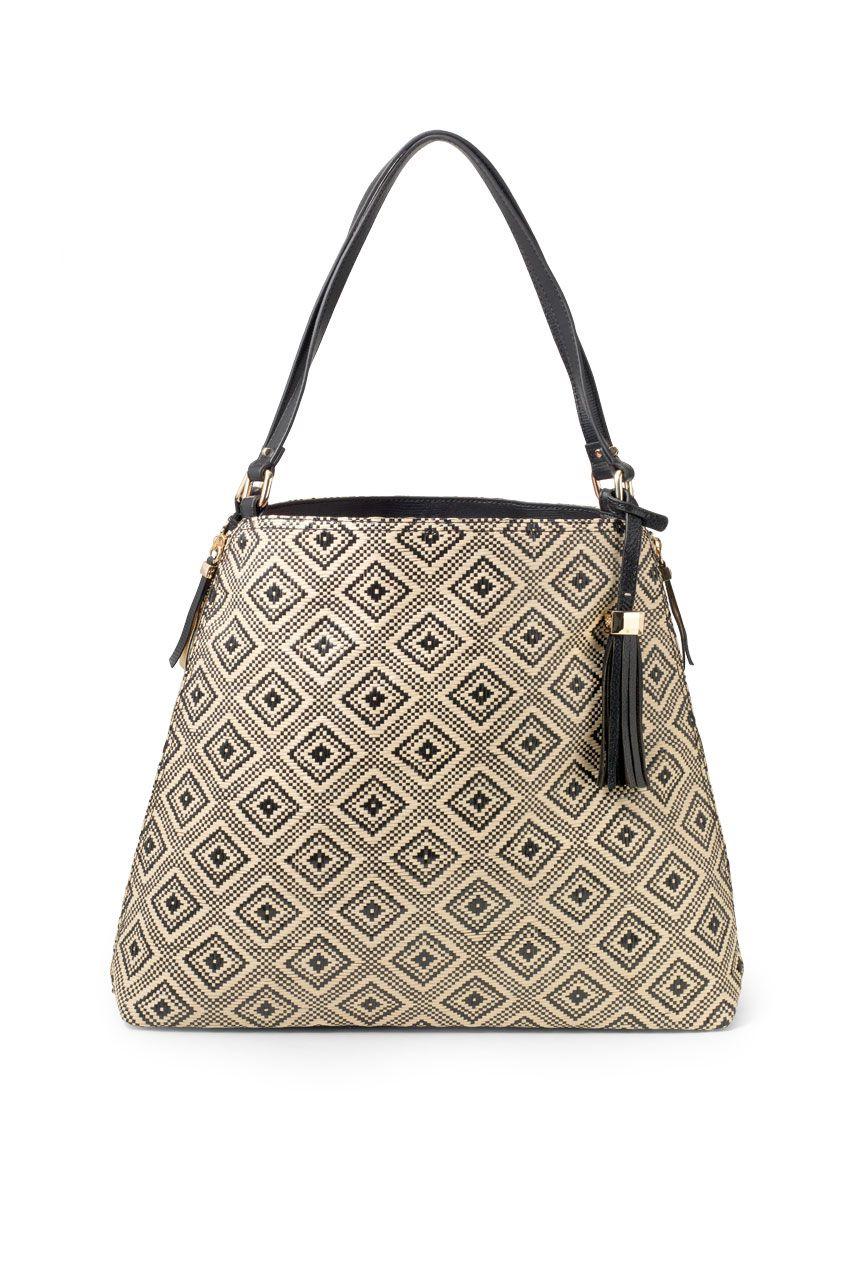 I want this bag for the summer Black Leather & Diamond Print Handbag