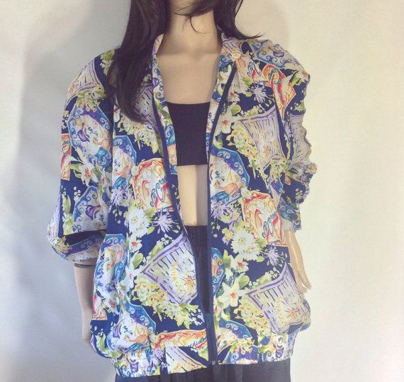 Blue Silk Floral Bomber Jacket  by sixcatsfunVINTAGE #bomber #silk #floral #vintage #etsy