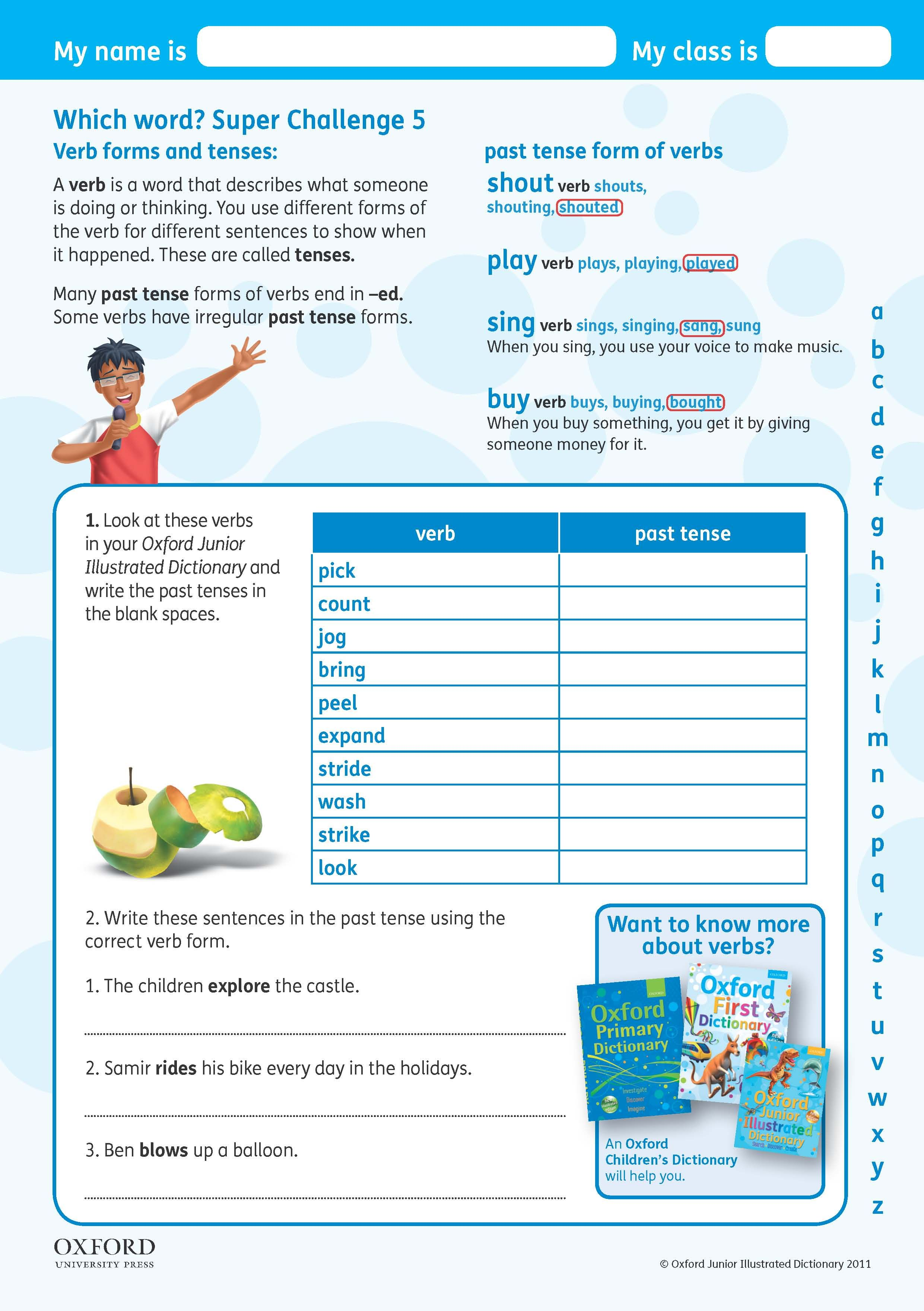 Identify Verbs In A Sentence Worksheet Download Your Free Oxford Junior Illustrated Dictionary Super  Student Worksheet Brain Anatomy Activity 1a Answers Pdf with Prek Printable Worksheets Pdf Download Your Free Oxford Junior Illustrated Dictionary Super Challenge  Worksheet Look At These Verbs In Subject   Predicate Worksheets Word