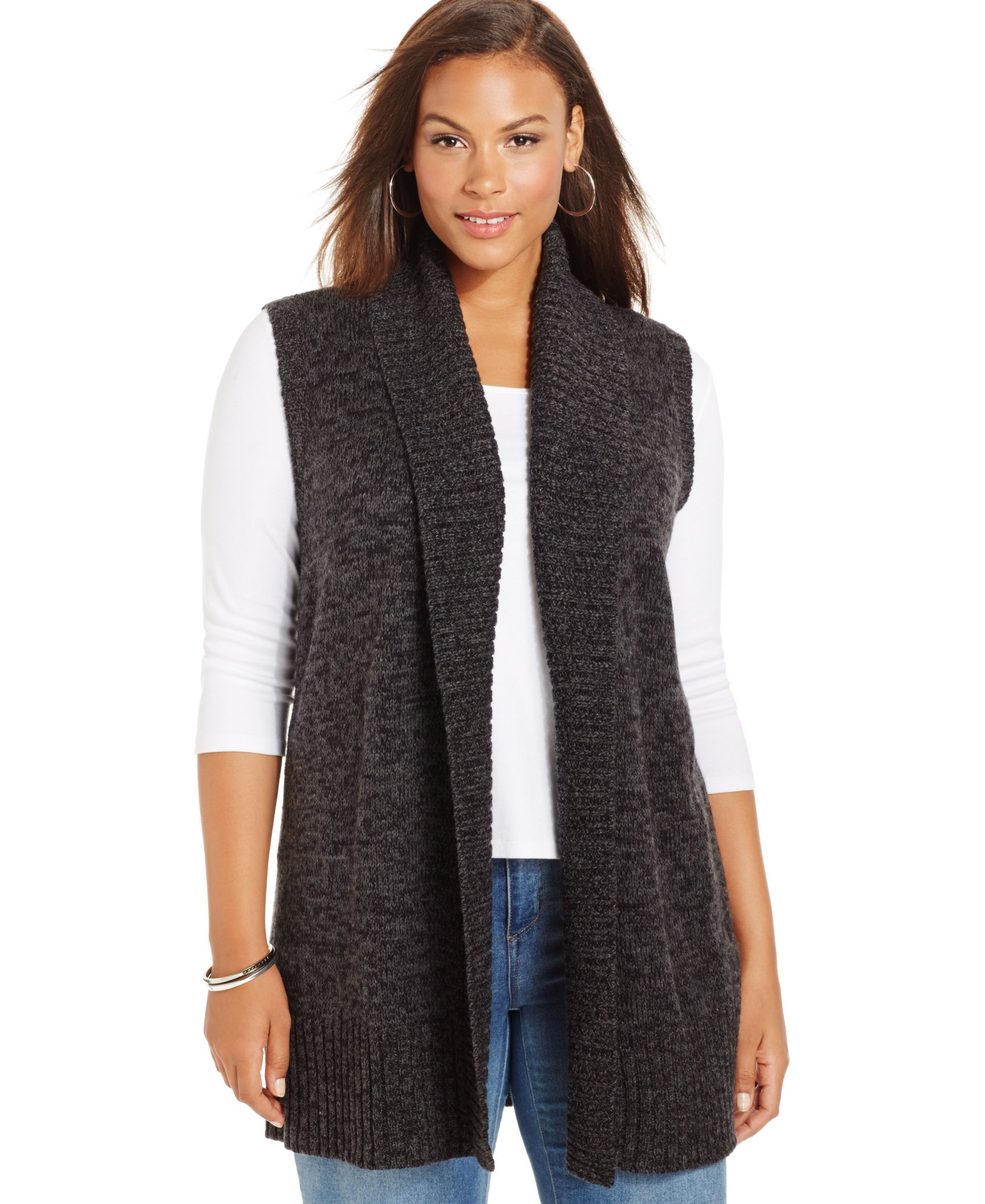 Style&co. Shawl-Collar Open Sweater Vest, Only at Macy's ...