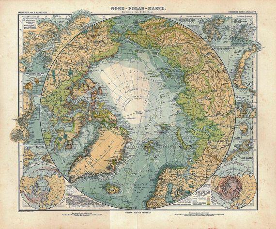 1911 North Pole Original Antique Map Arctic by CarambasVintage, $55.00