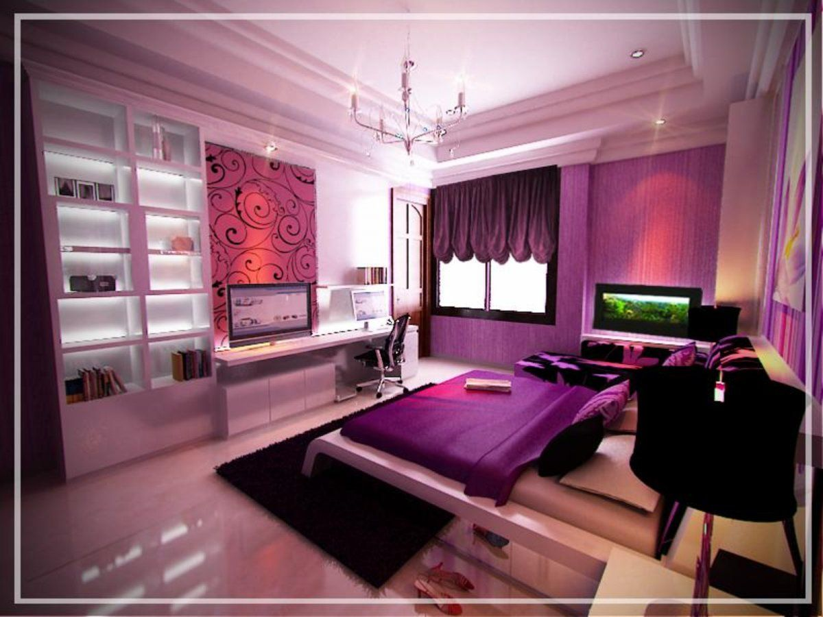 Computer Bedroom Decor Design beautiful pink purple theme bedroom with computer desk design and