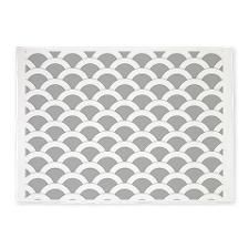 Scallops Placemat W Lt Gray 5'x7'Area Rug for