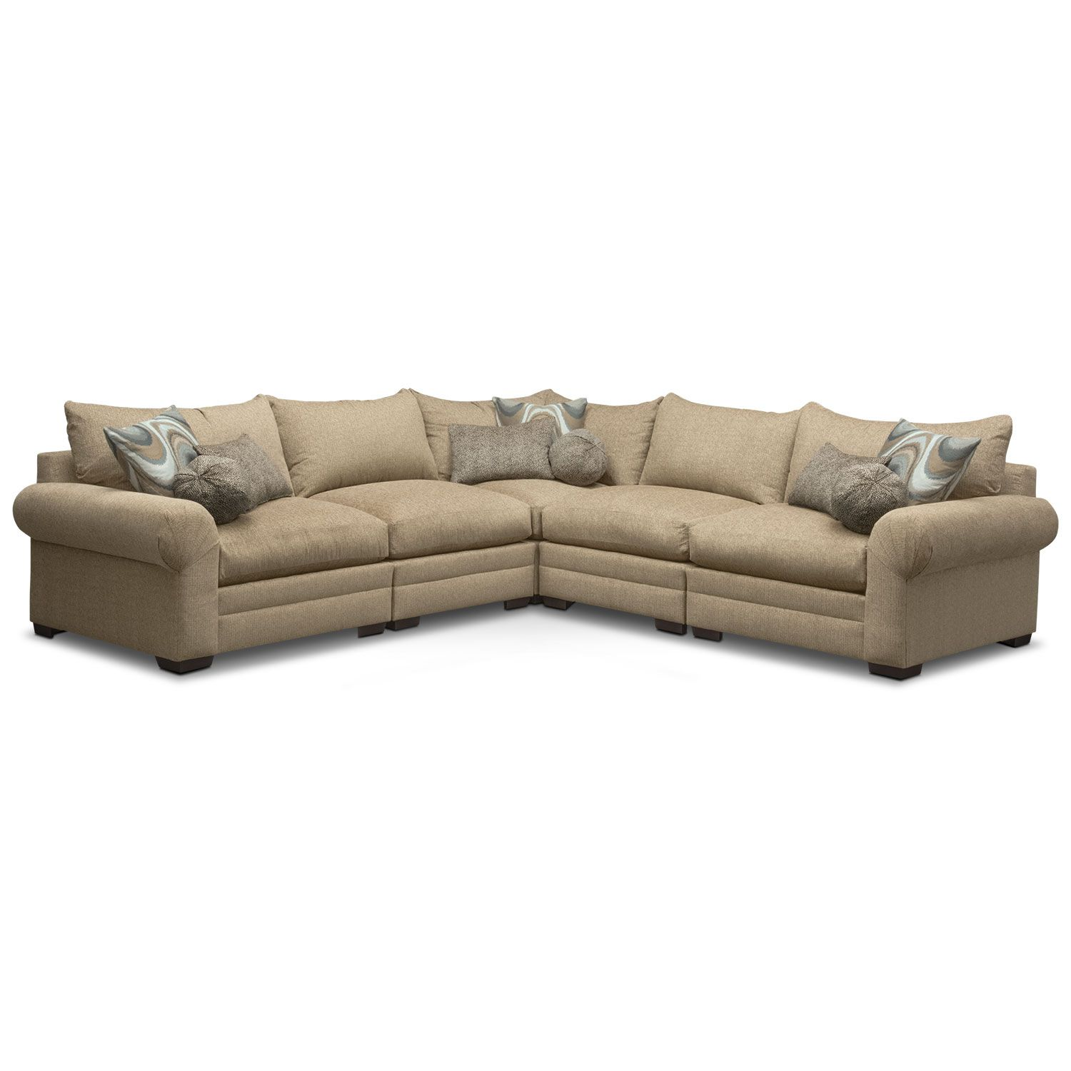 Living Room Furniture Wilshire 5 Piece Sectional Taupe