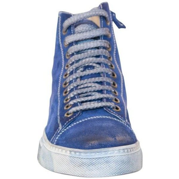 PAOLO IANTORNO Paula Suede Dip Dyed Indago Blue High Top Sneakers (€260) ❤ liked on Polyvore featuring shoes, sneakers, suede trainers, high top suede shoes, suede high top sneakers, suede sneakers and hi tops