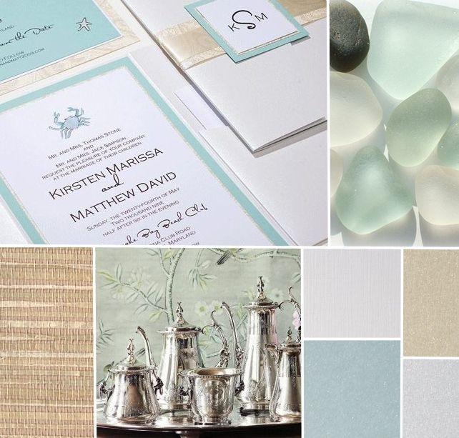 Sea Glass Inspired Watercolor Wedding Invitations