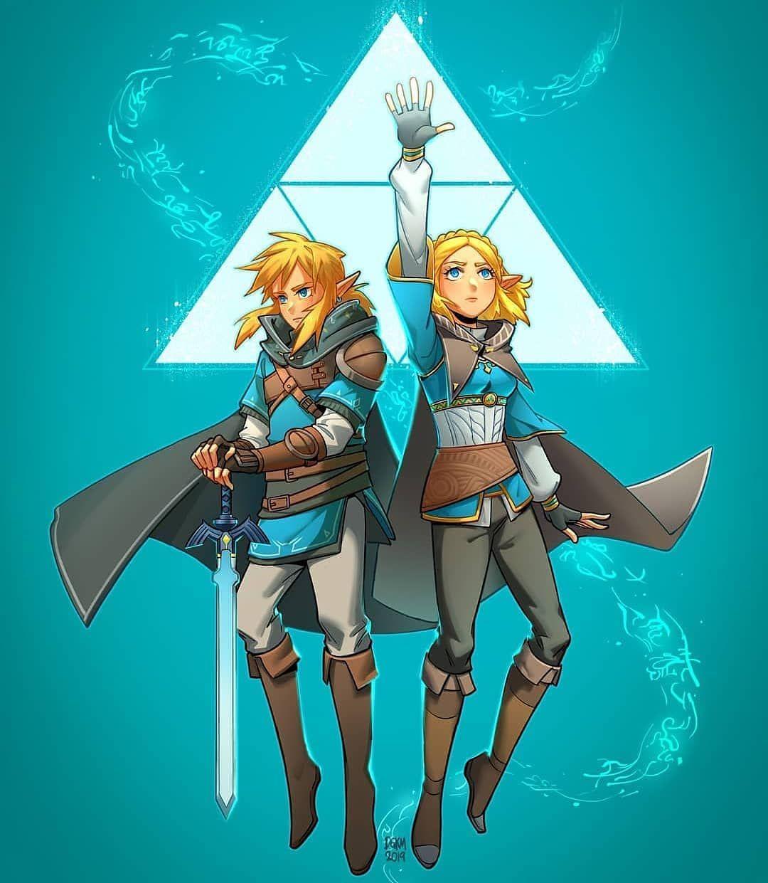 Legend Of Zelda Breath Of The Wild Sequel Art Link And Princess Zelda Triforce Botw 2 Digitkame Legend Of Zelda Breath Legend Of Zelda Beautiful Witch