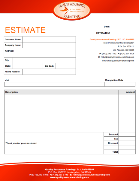 Interior Design Estimate Form Trend Home And Decor Repair Cost