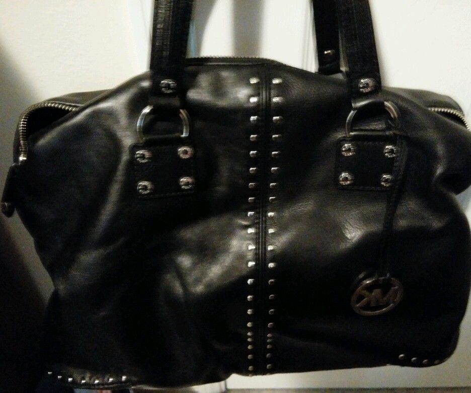 mk silver clutch bag ukulelebag michael kors astor large leather black silver studs handbag purse