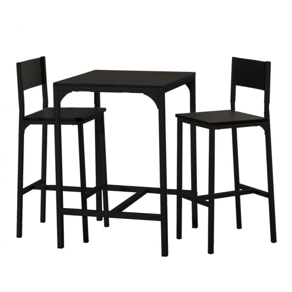 set 1 table haute et 2 tabourets de bar daiquiri noir | recherches
