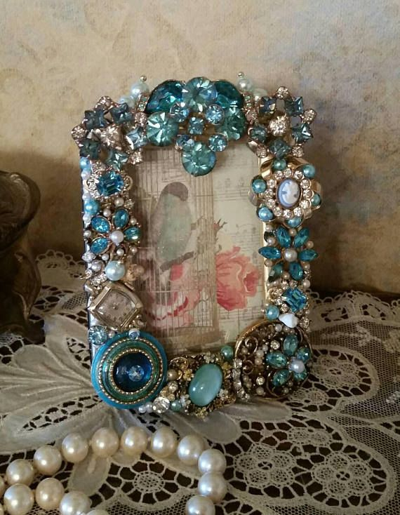 OOAK Repurposed Vintage Jewelry Hand Decorated Jeweled Picture/Photo ...