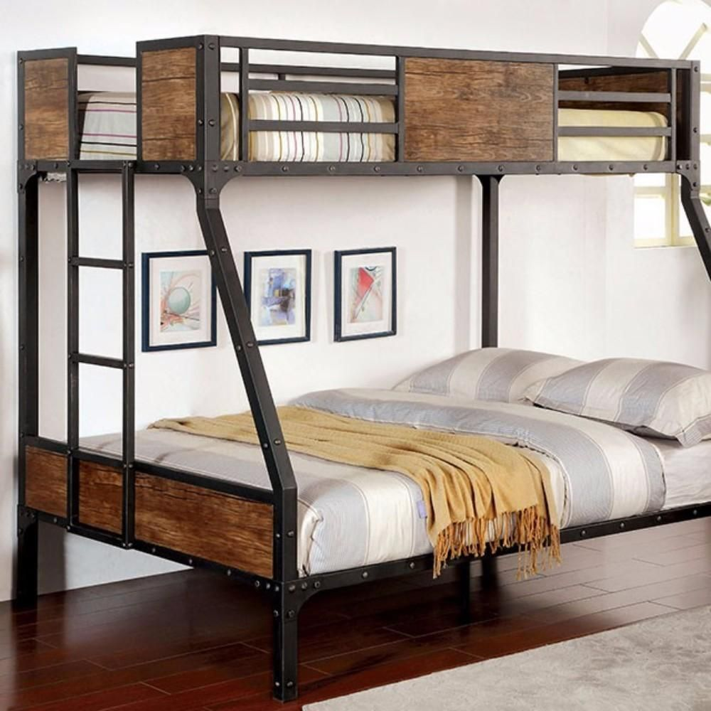 Wooden Metal Frame Twin Full Size Bunk Bed Black By Casagear