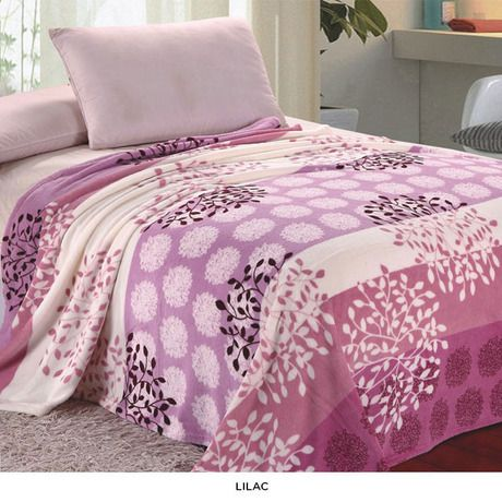 Flower Print Micro Plush Blankets - Purple Mist or Lilac Pink at 66% Savings off Retail! Flower Print Micro Plush Blankets - Purple Mist or Lilac Pink